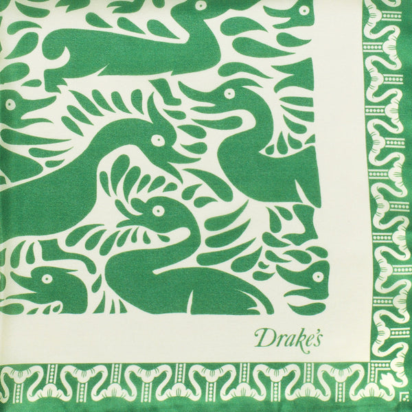 Drake's - Duck Print Silk Pocket Square - Green & Cream - MAN of the WORLD Online Destination for Men's Lifestyle - 2