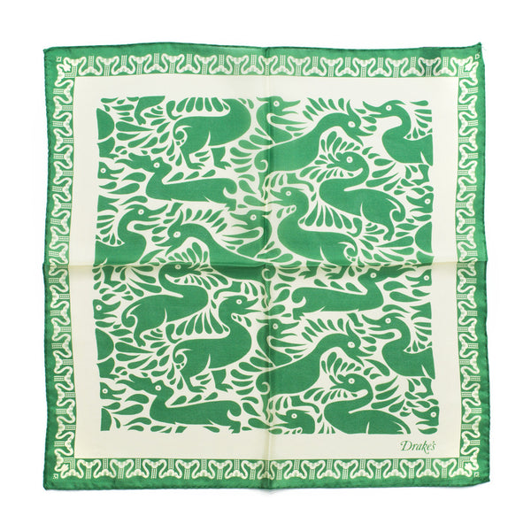 Drake's - Duck Print Silk Pocket Square - Green & Cream - MAN of the WORLD Online Destination for Men's Lifestyle - 3