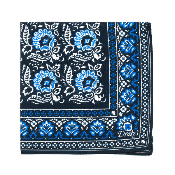 Drake's - Floral Print Cotton Pocket Square - Navy - MAN of the WORLD Online Destination for Men's Lifestyle - 1