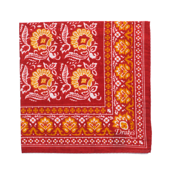 Floral Print Cotton Pocket Square - Red
