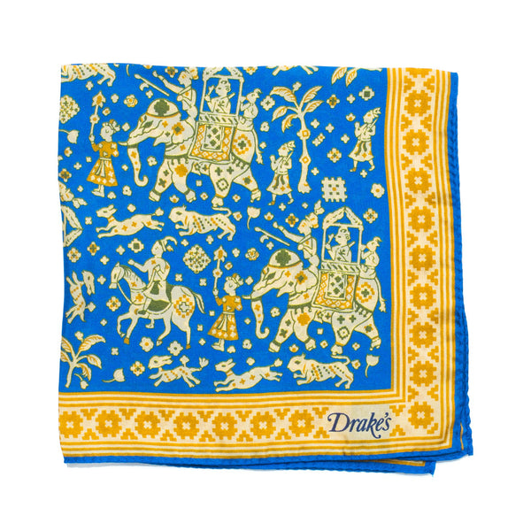 Drake's - Indian Elephant Print Silk Pocket Square - Blue - MAN of the WORLD Online Destination for Men's Lifestyle - 1