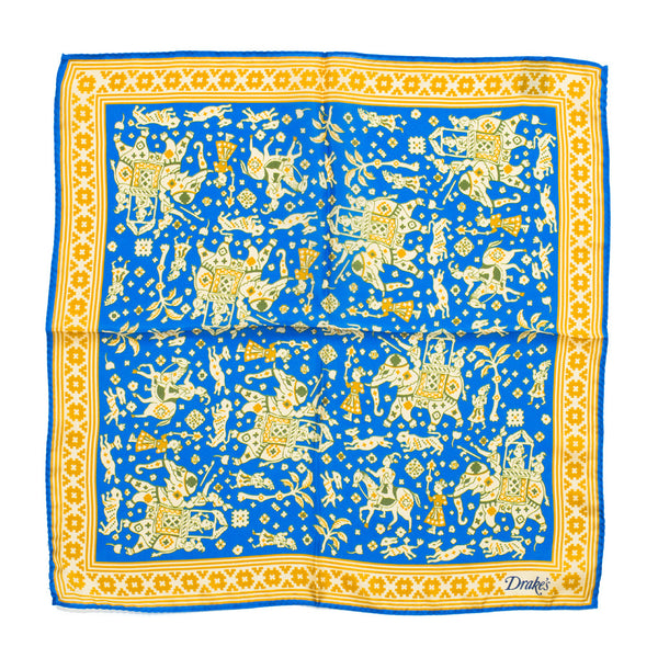 Drake's - Indian Elephant Print Silk Pocket Square - Blue - MAN of the WORLD Online Destination for Men's Lifestyle - 3