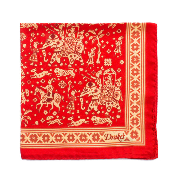 Drake's - Indian Elephant Print Silk Pocket Square - Red - MAN of the WORLD Online Destination for Men's Lifestyle - 1