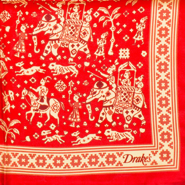 Drake's - Indian Elephant Print Silk Pocket Square - Red - MAN of the WORLD Online Destination for Men's Lifestyle - 2