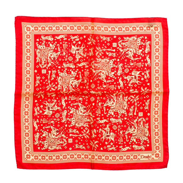 Drake's - Indian Elephant Print Silk Pocket Square - Red - MAN of the WORLD Online Destination for Men's Lifestyle - 3