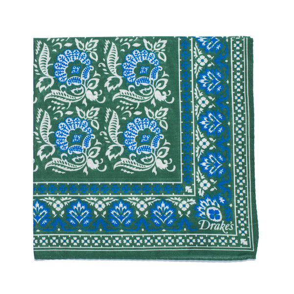 Floral Print Cotton Pocket Square - Green