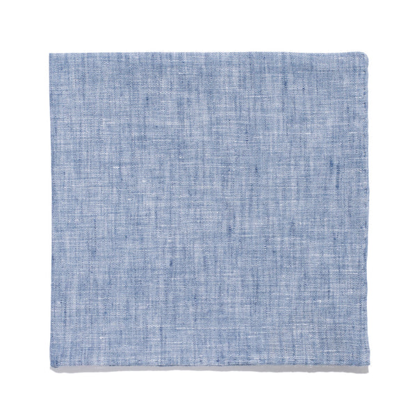Drake's - Linen Pocket Square - Blue - MAN of the WORLD Online Destination for Men's Lifestyle - 1