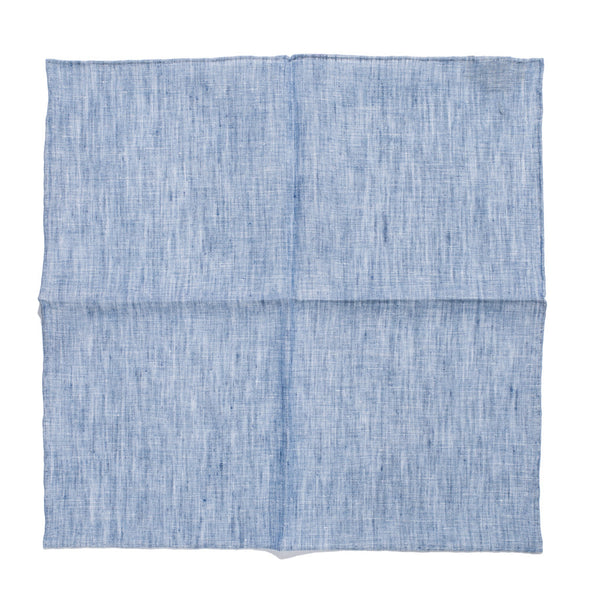 Drake's - Linen Pocket Square - Blue - MAN of the WORLD Online Destination for Men's Lifestyle - 3
