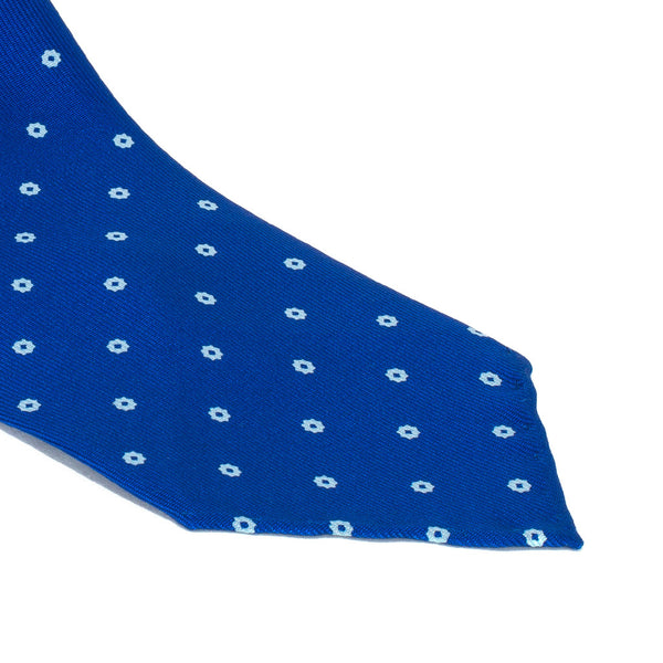 Drake's - Silk Printed Foulard Tie - Blue & White - MAN of the WORLD Online Destination for Men's Lifestyle - 2