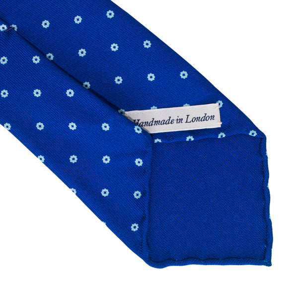 Drake's - Silk Printed Foulard Tie - Blue & White - MAN of the WORLD Online Destination for Men's Lifestyle - 3