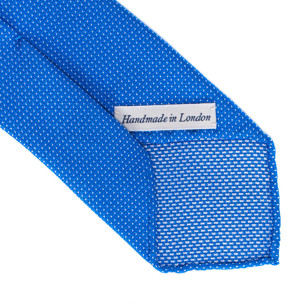 Drake's - Silk Woven Grenadine Tie - Blue & White - MAN of the WORLD Online Destination for Men's Lifestyle - 3