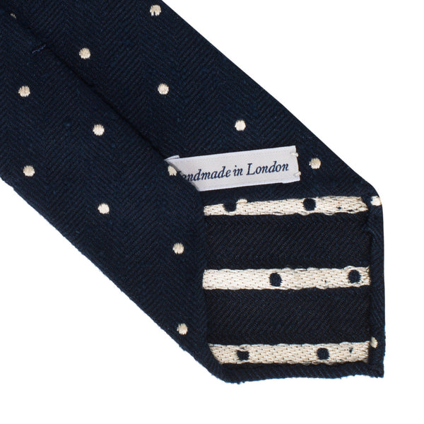 Drake's - Silk Woven Shantung Tie - Navy & White - MAN of the WORLD Online Destination for Men's Lifestyle - 3
