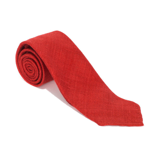 Drake's - SILK WOVEN SHANTUNG SOLID TIE - RED - MAN of the WORLD Online Destination for Men's Lifestyle - 1