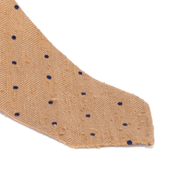 Drake's - Silk Woven Shantung Tie - Tan & Navy - MAN of the WORLD Online Destination for Men's Lifestyle - 2