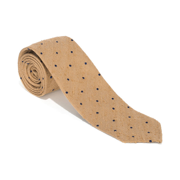 Drake's - Silk Woven Shantung Tie - Tan & Navy - MAN of the WORLD Online Destination for Men's Lifestyle - 1