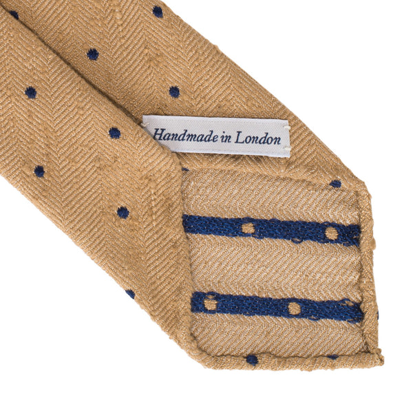 Drake's - Silk Woven Shantung Tie - Tan & Navy - MAN of the WORLD Online Destination for Men's Lifestyle - 3
