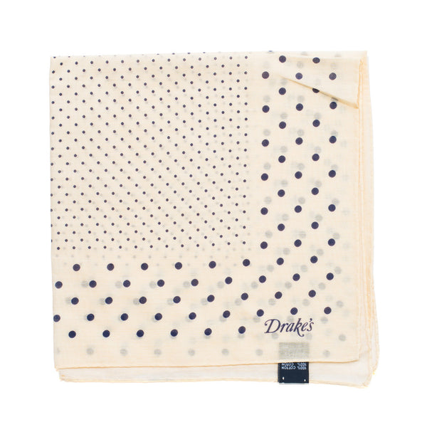 Drake's - Spot Print Cotton Pocket Square - Cream & Navy - MAN of the WORLD Online Destination for Men's Lifestyle - 1