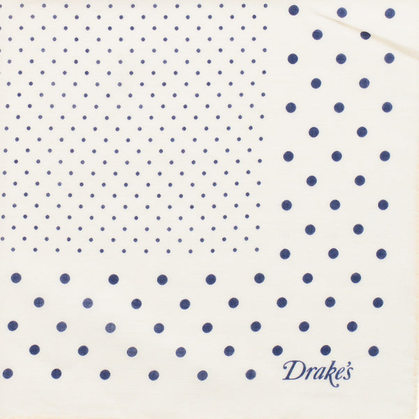 Drake's - Spot Print Cotton Pocket Square - Cream & Navy - MAN of the WORLD Online Destination for Men's Lifestyle - 2