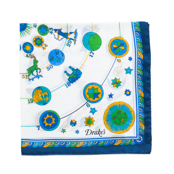 Drake's - Zodiac Print Silk Pocket Square - Navy - MAN of the WORLD Online Destination for Men's Lifestyle - 1