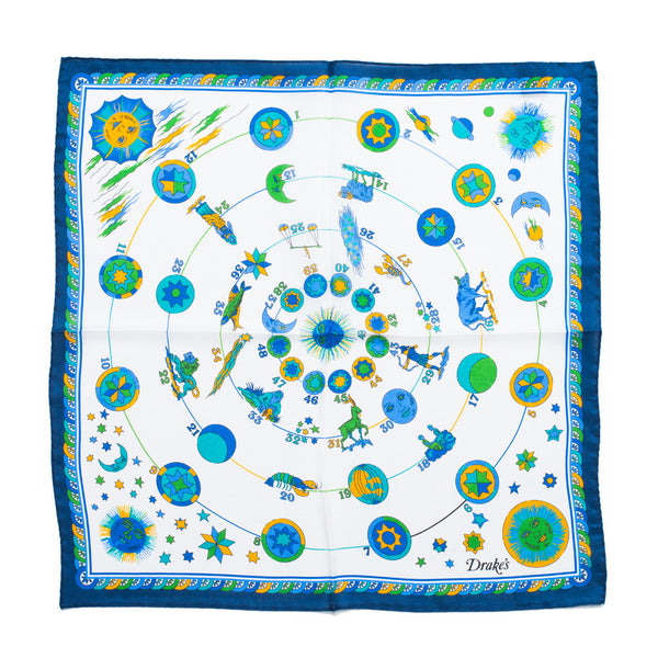Drake's - Zodiac Print Silk Pocket Square - Navy - MAN of the WORLD Online Destination for Men's Lifestyle - 3
