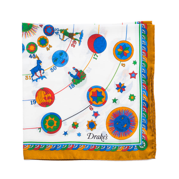 Drake's - Zodiac Print Silk Pocket Square - Yellow - MAN of the WORLD Online Destination for Men's Lifestyle - 1