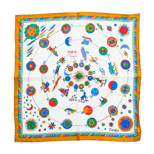 Drake's - Zodiac Print Silk Pocket Square - Yellow - MAN of the WORLD Online Destination for Men's Lifestyle - 3