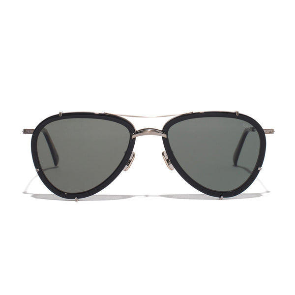 Metal & Acetate Aviator Sunglasses - Black