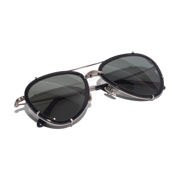 Eyevan 7285 - Metal & Acetate Aviator Sunglasses - Black - MAN of the WORLD Online Destination for Men's Lifestyle - 5