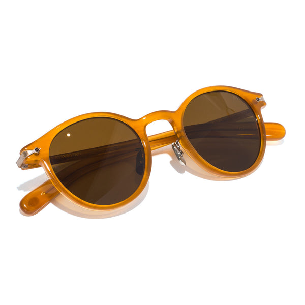 Eyevan 7285 - Round Frame Acetate Sunglasses - Amber - MAN of the WORLD Online Destination for Men's Lifestyle - 5