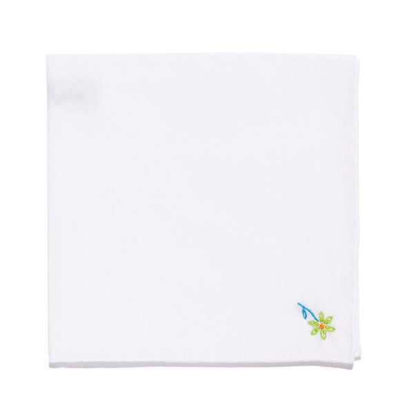 Hand Embroidered Cotton Pocket Square - Green Flower
