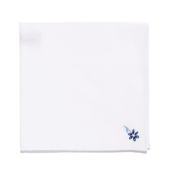 Hand Embroidered Cotton Pocket Square - Navy Flower