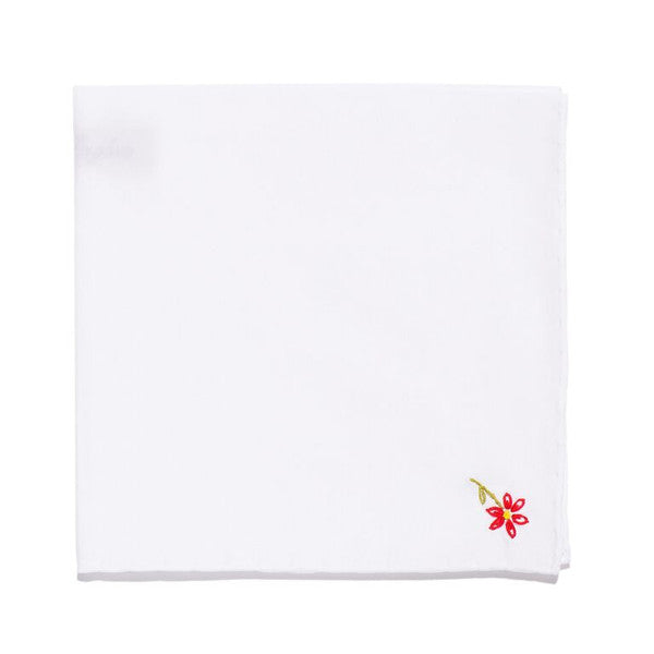 Hand Embroidered Cotton Pocket Square - Red Flower