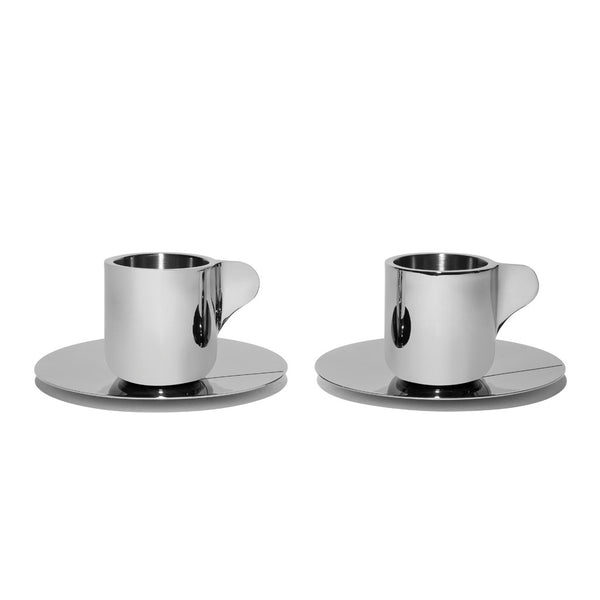 Georg Jensen - Stainless Steel Espresso Cups with Saucers - MAN of the WORLD Online Destination for Men's Lifestyle - 1