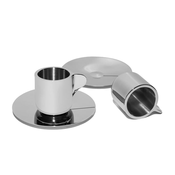Georg Jensen - Stainless Steel Espresso Cups with Saucers - MAN of the WORLD Online Destination for Men's Lifestyle - 2