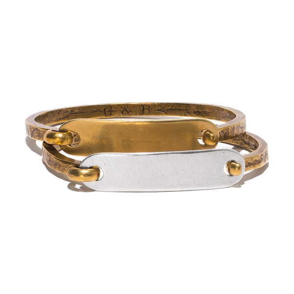 Giles & Brother - Brass & Silver ID Cuff - MAN of the WORLD Online Destination for Men's Lifestyle - 6