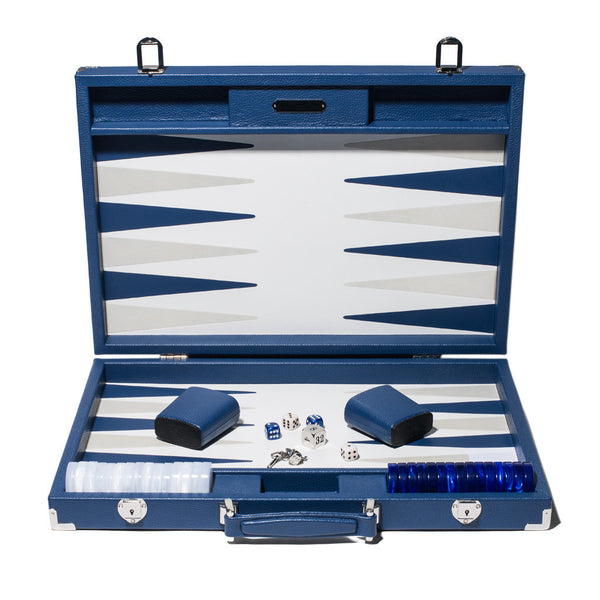 Competition Backgammon Board - Bleu Leather