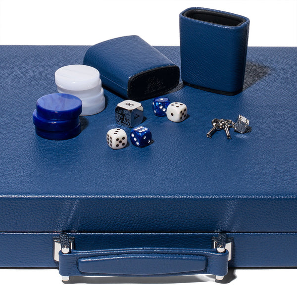 Hector Saxe - Competition Backgammon Board Bleu Leather - MAN of the WORLD Online Destination for Men's Lifestyle - 3
