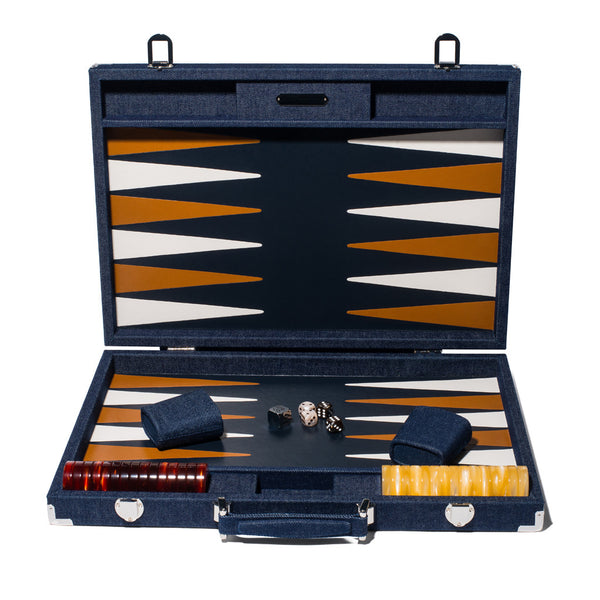 Competition Backgammon Board - Denim & Leather