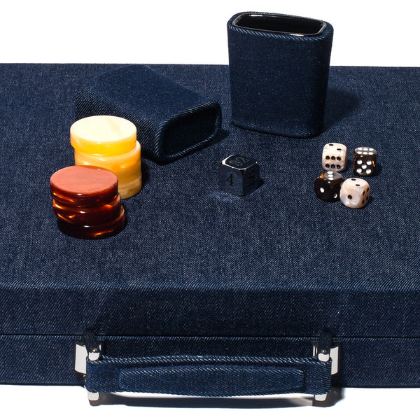 Hector Saxe - Competition Backgammon Board Denim & Leather - MAN of the WORLD Online Destination for Men's Lifestyle - 3