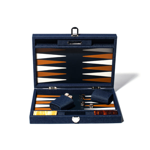Medium Backgammon Board - Denim & Leather