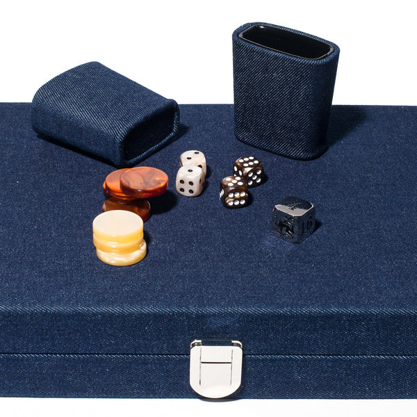 Hector Saxe - Medium Backgammon Board Denim & Leather - MAN of the WORLD Online Destination for Men's Lifestyle - 4