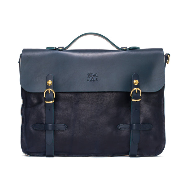 IL BISONTE - Cowhide Briefcase with Shoulder Strap - Navy - MAN of the WORLD Online Destination for Men's Lifestyle - 1
