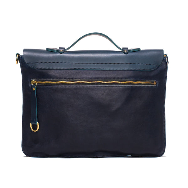 IL BISONTE - Cowhide Briefcase with Shoulder Strap - Navy - MAN of the WORLD Online Destination for Men's Lifestyle - 2