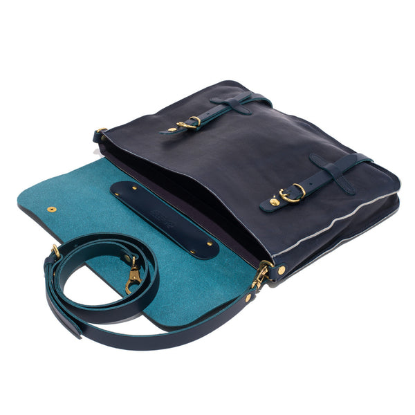 IL BISONTE - Cowhide Briefcase with Shoulder Strap - Navy - MAN of the WORLD Online Destination for Men's Lifestyle - 6