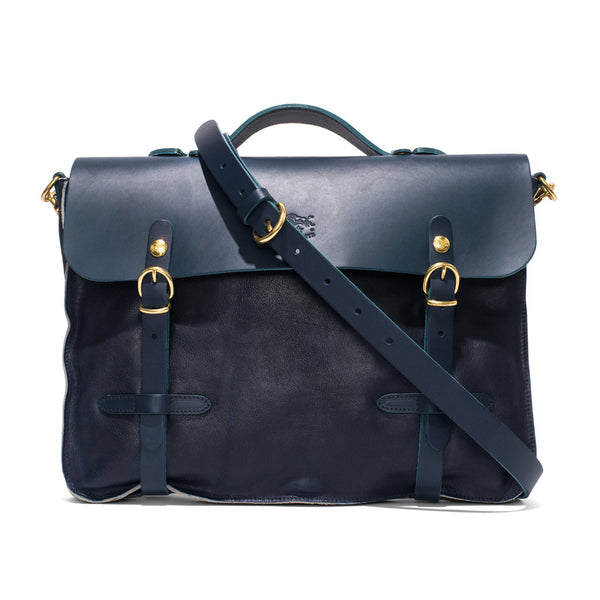 IL BISONTE - Cowhide Briefcase with Shoulder Strap - Navy - MAN of the WORLD Online Destination for Men's Lifestyle - 7