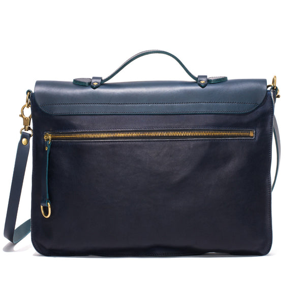 IL BISONTE - Cowhide Briefcase with Shoulder Strap - Navy - MAN of the WORLD Online Destination for Men's Lifestyle - 8