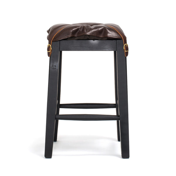 IL BISONTE - Wooden Stool with Cowhide Seat - Brown - MAN of the WORLD Online Destination for Men's Lifestyle - 2
