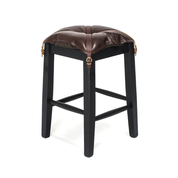 Wooden Stool with Cowhide Seat - Brown