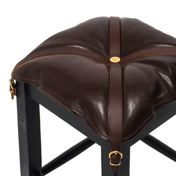 IL BISONTE - Wooden Stool with Cowhide Seat - Brown - MAN of the WORLD Online Destination for Men's Lifestyle - 3