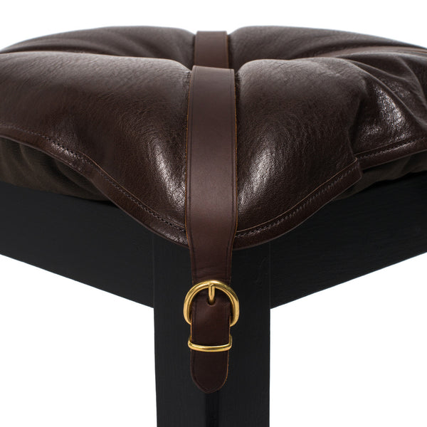 IL BISONTE - Wooden Stool with Cowhide Seat - Brown - MAN of the WORLD Online Destination for Men's Lifestyle - 4